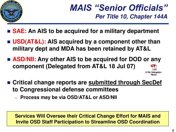 """MAIS """"Senior Officials"""""""