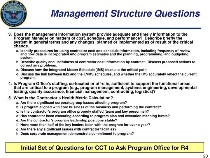 Management Structure Questions