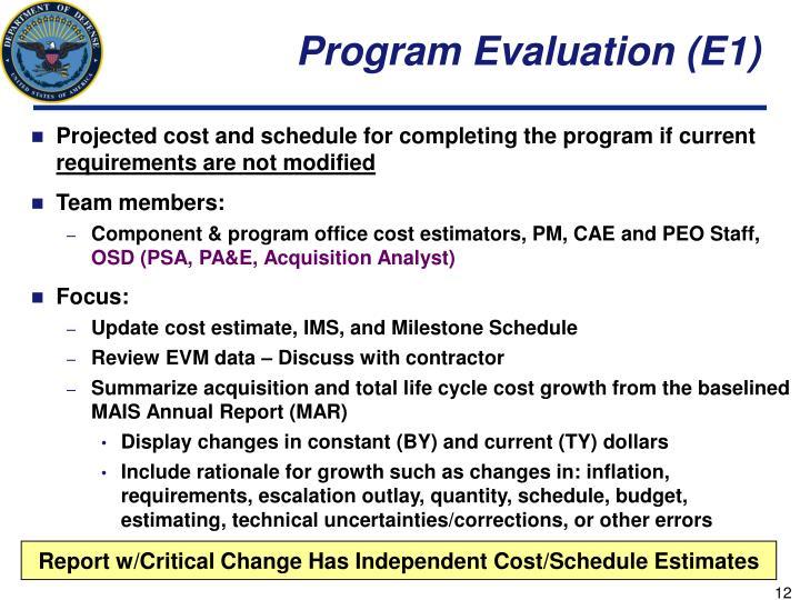 Program Evaluation (E1)