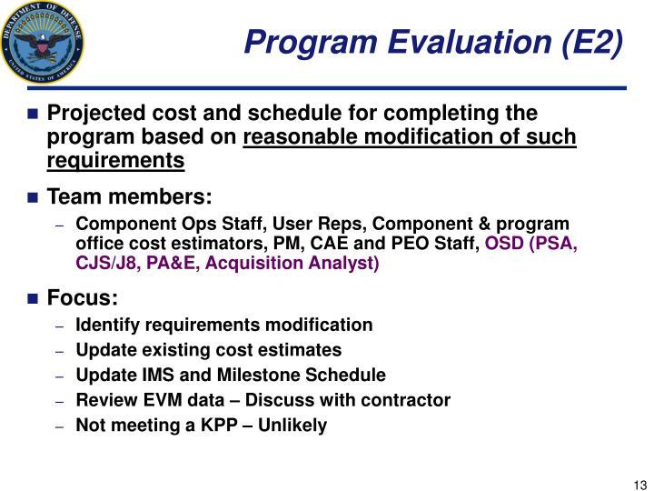 Program Evaluation (E2)