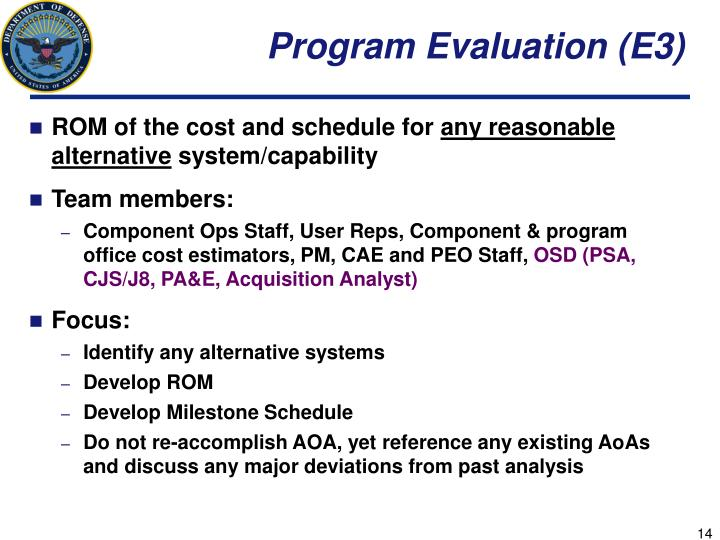 Program Evaluation (E3)