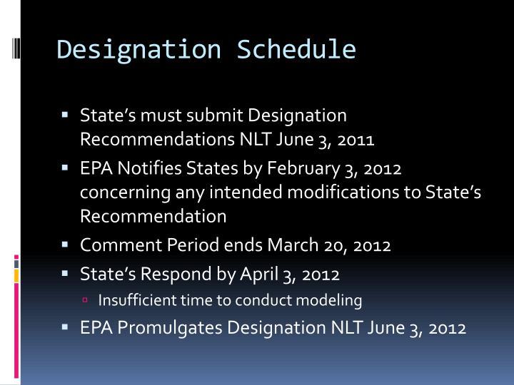 Designation Schedule