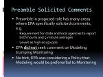 preamble solicited comments