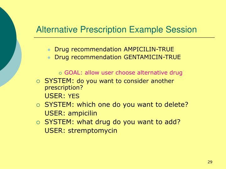 Alternative Prescription Example Session