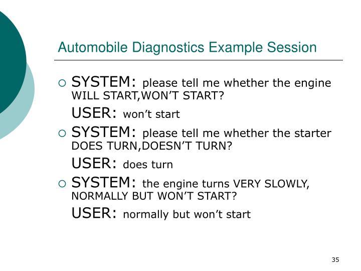 Automobile Diagnostics Example Session