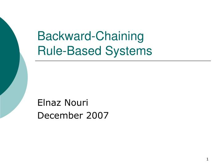 backward chaining rule based systems