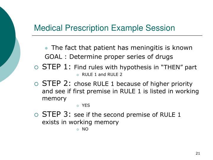 Medical Prescription Example Session