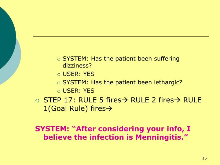 SYSTEM: Has the patient been suffering dizziness?
