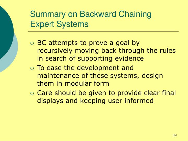 Summary on Backward Chaining Expert Systems