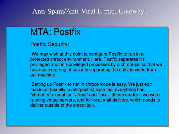 Anti-Spam/Anti-Viral E-mail Gateway