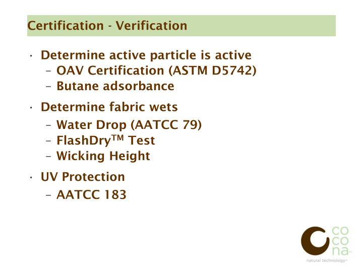 Certification - Verification