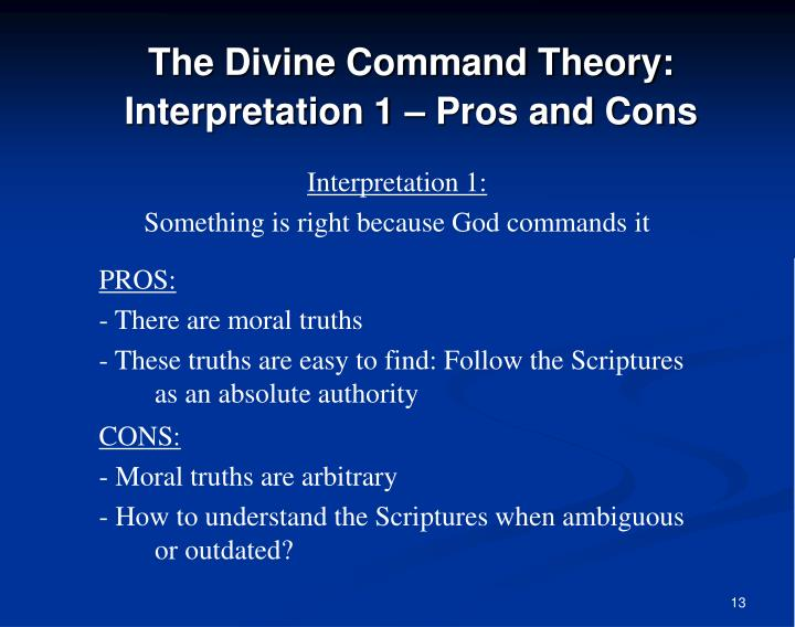 The Divine Command Theory: