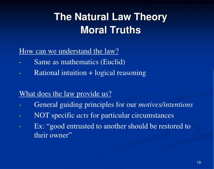 The Natural Law Theory