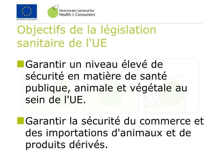 Objectifs de la législation sanitaire de l'UE