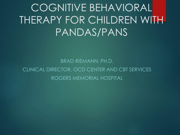 cognitive behavioral therapy for children with pandas pans