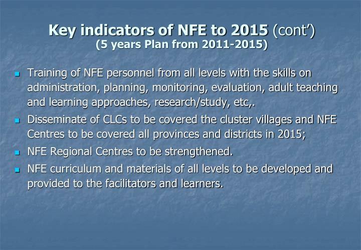 Key indicators of NFE to 2015