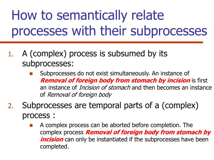 How to semantically relate processes with their subprocesses