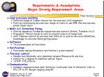 requirements assumptions major driving requirement areas