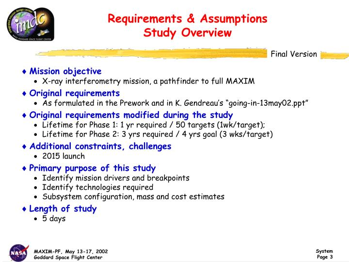 Requirements & Assumptions