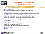 requirements assumptions study overview