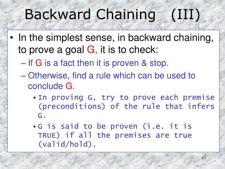 Backward Chaining   (III)
