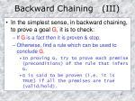 backward chaining iii