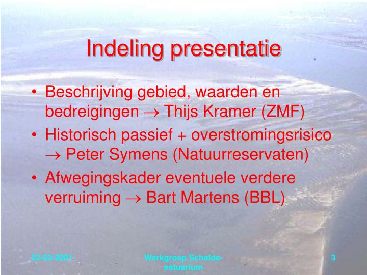 Indeling presentatie