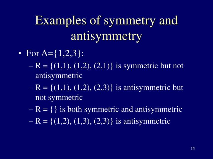 Examples of symmetry and antisymmetry