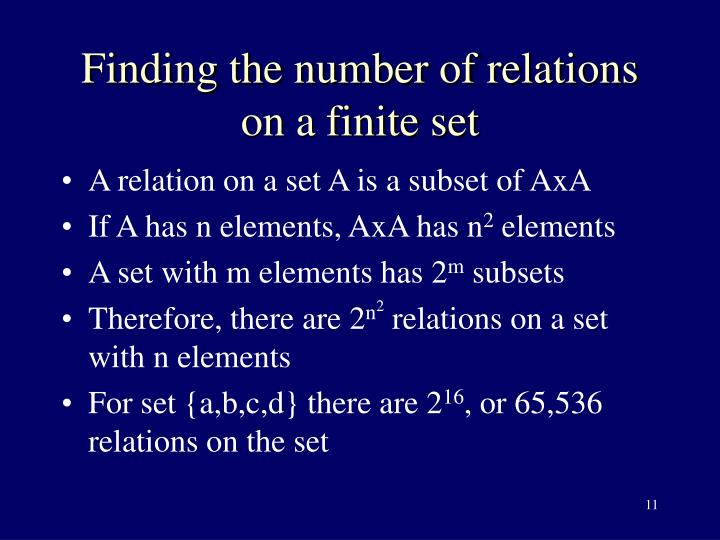 Finding the number of relations on a finite set