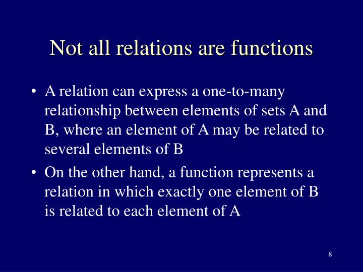 Not all relations are functions