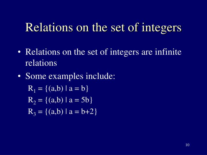 Relations on the set of integers