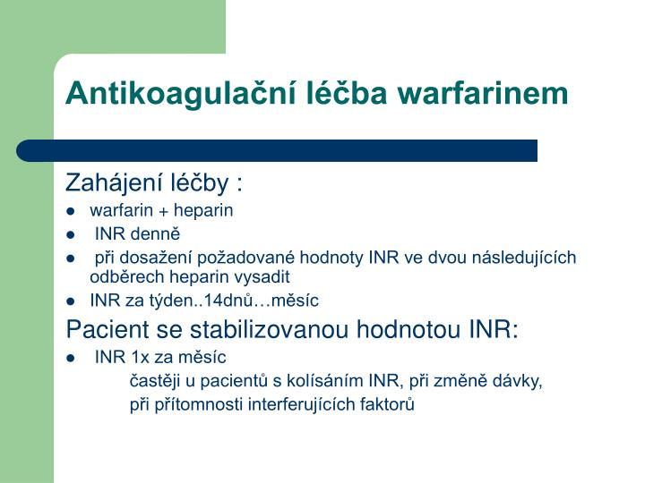 Antikoagulační léčba warfarinem