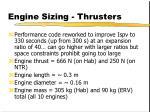 engine sizing thrusters