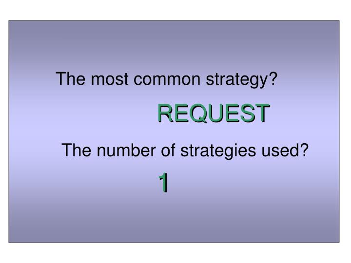 The most common strategy?
