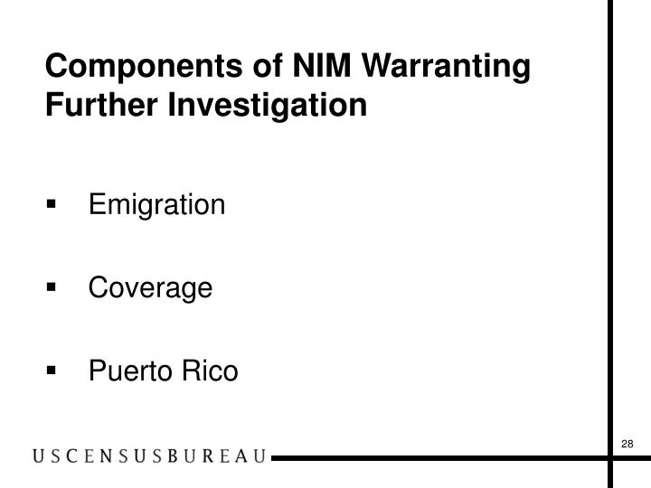Components of NIM Warranting Further Investigation