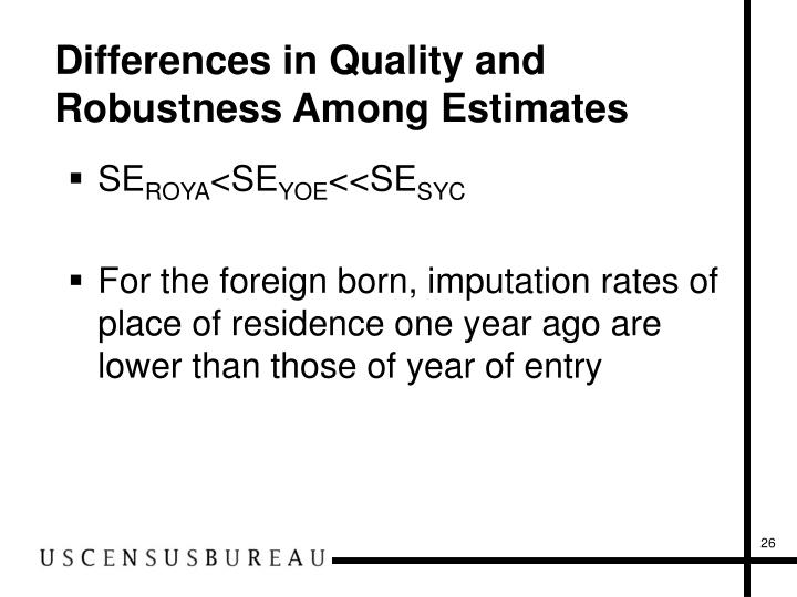 Differences in Quality and Robustness Among Estimates
