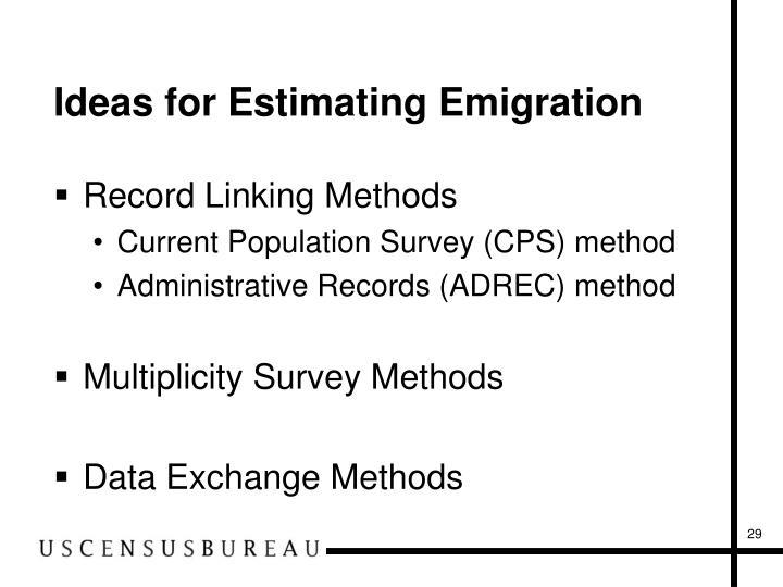 Ideas for Estimating Emigration