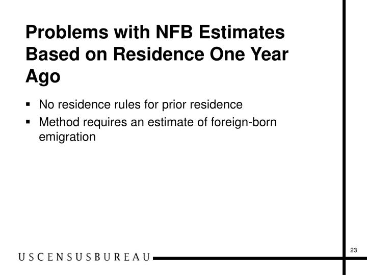 Problems with NFB Estimates Based on Residence One Year Ago