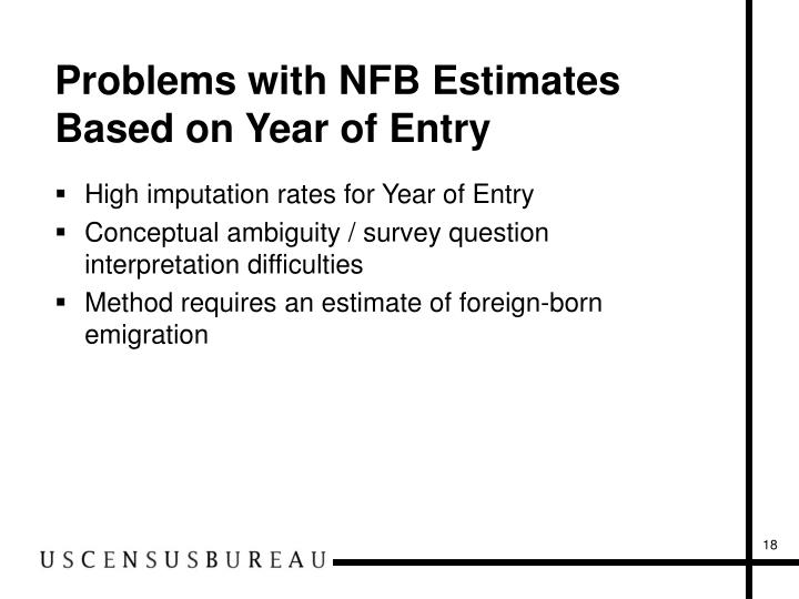 Problems with NFB Estimates Based on Year of Entry