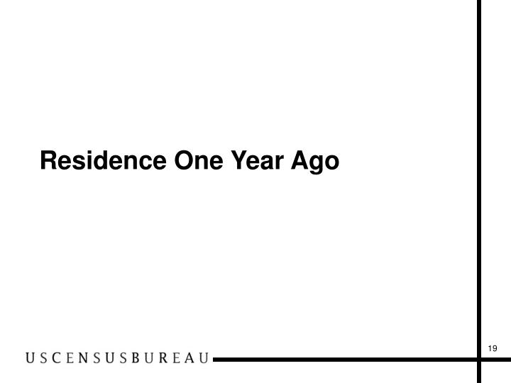 Residence One Year Ago