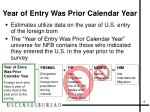 year of entry was prior calendar year