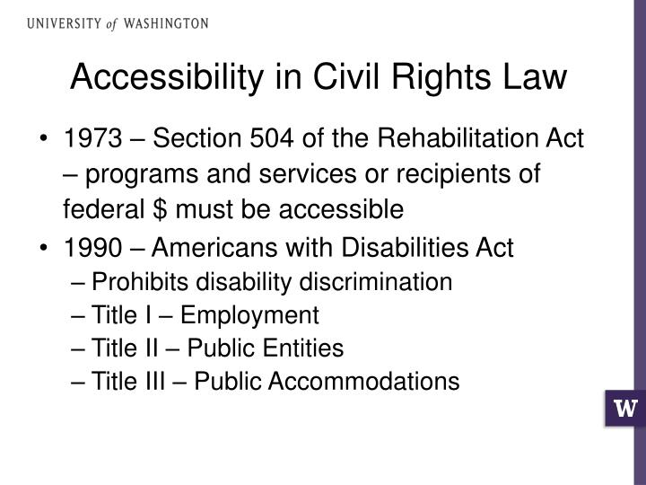 Accessibility in Civil Rights Law
