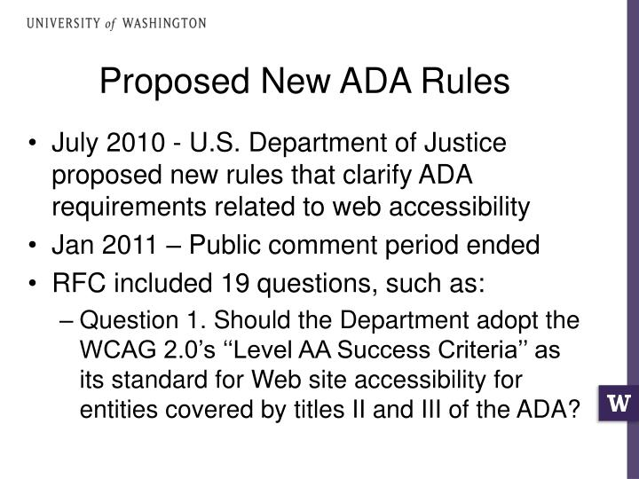 Proposed New ADA Rules