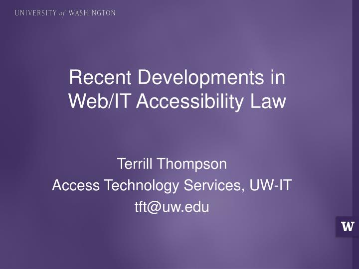 recent developments in web it accessibility law