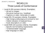 wcag 2 0 three levels of conformance
