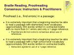 braille reading proofreading consensus instructors practitioners