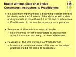 braille writing slate and stylus consensus instructors practitioners