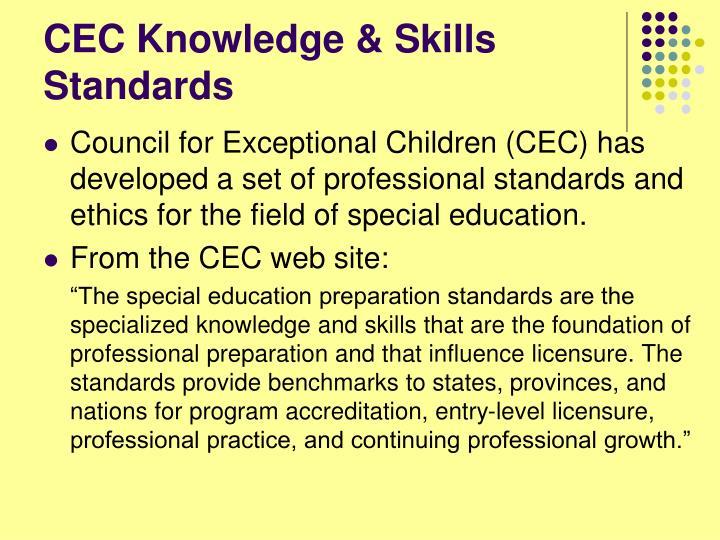 CEC Knowledge & Skills Standards