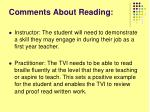 comments about reading