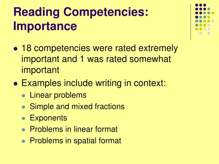 Reading Competencies: Importance